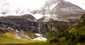 Snow line and Snow mountain Stock Images