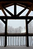 Snow on Lodge Beams Stock Photo