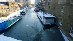 Snow London canal. Ice on canal Royalty Free Stock Photography