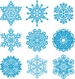 Snow. It is a lot of snowflakes of a different form on a white background stock illustration