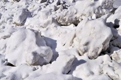 Snow lumps on roadside Stock Photography