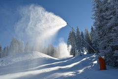 Snow machine in action Royalty Free Stock Photo