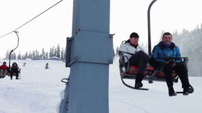 Snow machine gun on a ski slope stock video footage