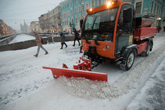 Snow machines in the city center Royalty Free Stock Image