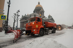 Snow machines in the city center Royalty Free Stock Photography