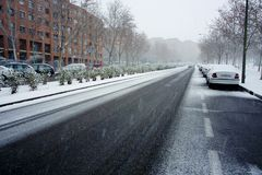 Snow in Madrid Royalty Free Stock Photo