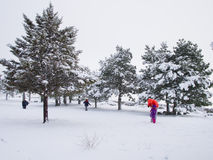 Snow in Madrid, Spain Stock Images