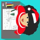 Snow Maiden圣诞老人小姐景色在写的文本铅笔风景圣诞节横幅illustrati白色板料从上面画 免版税库存图片