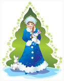 Snow maiden. Bright Christmas party, gifts, hope, love Royalty Free Stock Image