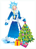 Snow maiden. Bright Christmas party, gifts, hope, love Stock Image