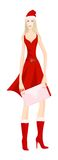 Snow maiden. Attractive smiling snow maiden in red dress, fur boots and holiday New Year cap with decorative envelope in her hands. Eps 10 vector illustration Royalty Free Stock Photography