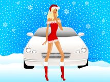 Snow maiden on a background a car Stock Photo