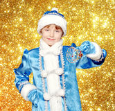 Snow Maiden on a background of gold stars Stock Photography
