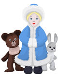 Snow-maiden bear bunny character cartoon  illustration Stock Photo