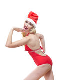 The Snow Maiden.The blonde in a cap of Santa Claus Stock Photography
