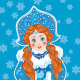 Snow Maiden on a blue background with white Royalty Free Stock Images