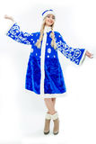 The Snow Maiden in blue Christmas costume. Stock Photos