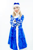The Snow Maiden in blue Christmas costume. Stock Images