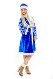 The Snow Maiden in blue Christmas costume. Royalty Free Stock Photos