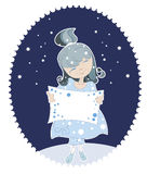 Snow Maiden in the blue dress Royalty Free Stock Photos
