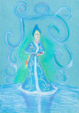 Snow maiden on blue ice Stock Image