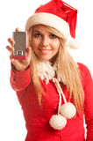 Snow Maiden calls on cellular telephone Stock Image