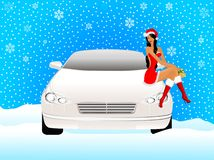 Snow maiden on a car Royalty Free Stock Photo