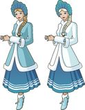 Snow Maiden character with blond braid. Snow Maiden character beautiful girl in blue and white traditional russian slavic costume with blond braid Royalty Free Stock Images