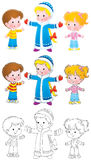 Snow Maiden and children Stock Photography