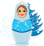 Snow maiden and Christmas fir tree. Illustration Stock Image
