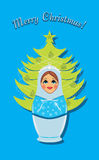 Snow maiden and Christmas fir tree. Postcard Stock Photos