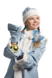 Snow maiden with christmas-tree decoration Stock Photos