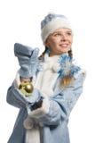 Snow maiden with christmas-tree decoration stock photos
