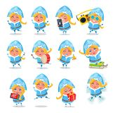 Snow Maiden Icons Collection Vector Illustration. Snow Maiden collection of icons with winter character doing different activities, singing and listening to Stock Photo