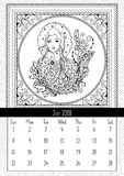 Snow Maiden coloring book page, calendar July 2018 Stock Photography