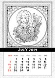 Snow Maiden coloring book page, calendar July 2019 royalty free illustration