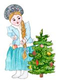 Snow Maiden is decorating the New Year tree. Snegurochka is decorating the New Year tree with apples, cone and candies - retro watercolor illustration in Russian Royalty Free Stock Photo
