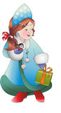 The snow maiden. With gift and bird. Young Santa Claus's helper. New year Royalty Free Stock Image