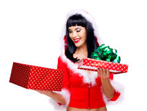 Snow maiden holds the  christmas new year box with  gift Stock Image