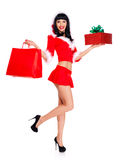 Snow maiden holds the red shopping bags and ney year gift Stock Image