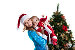 Snow maiden joy with baby santa claus portrait Stock Photo
