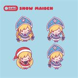 Snow Maiden with a kokoshnikom, crown. Blue and red suit. kawaii, cute, chibi cartoons Stock Photo