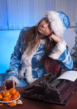 Snow Maiden in the office Royalty Free Stock Photography