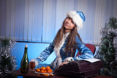 Snow Maiden in the office Stock Photos