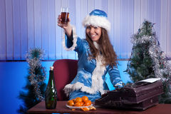 Snow Maiden in the office Royalty Free Stock Images