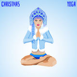 Snow Maiden in Padmasana posture Royalty Free Stock Images