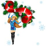 Snow Maiden with a placard `sale` Royalty Free Stock Photography
