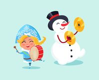 Snow Maiden Play on Drums and Snowman on Cymbals Royalty Free Stock Images