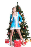 Snow Maiden posing with Christmas tree and gifts Royalty Free Stock Photography