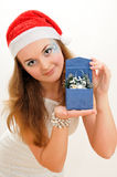Snow maiden with present Royalty Free Stock Photo